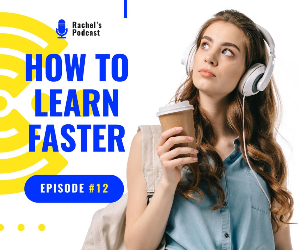 Education Podcast Ad Woman in Headphones — Crea un design