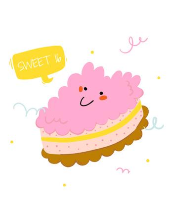 Сute Pink Smiling Cake T-Shirt Design Template