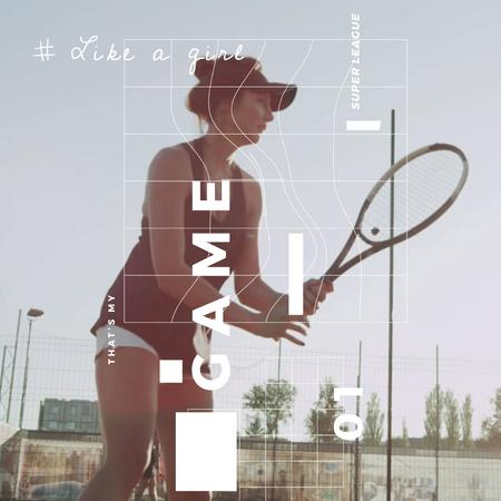 Plantilla de diseño de Young woman playing tennis Animated Post