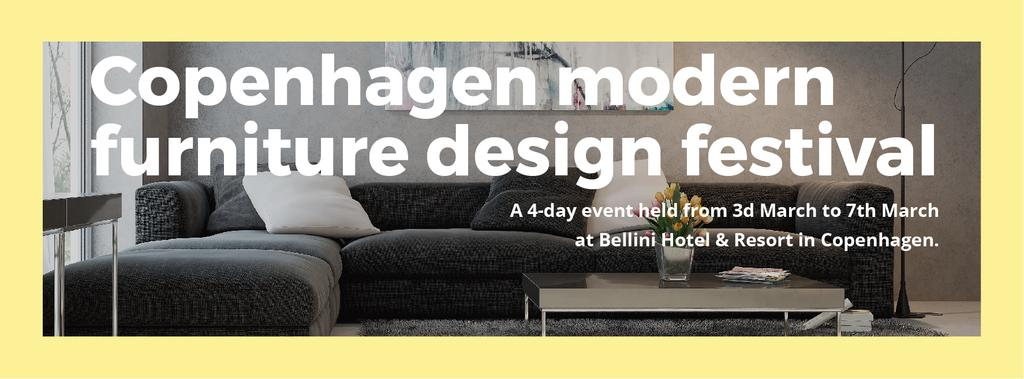 Interior Decoration Event Announcement Sofa in Grey | Facebook Cover Template — Créer un visuel