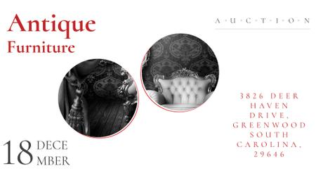 Plantilla de diseño de Antique Furniture Auction with armchair FB event cover