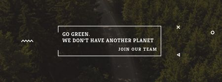 Plantilla de diseño de Ecology Quote with Forest Road View Facebook cover