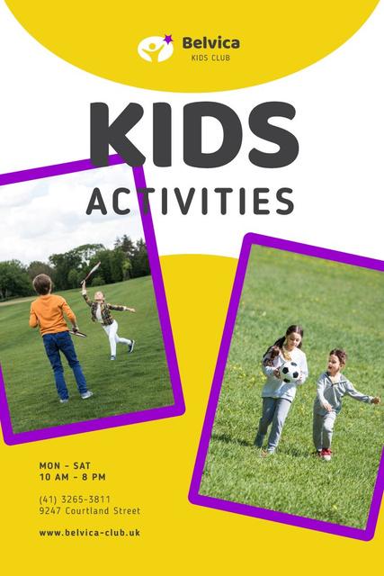Plantilla de diseño de Happy Children Playing Outdoors Pinterest