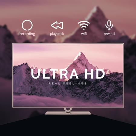 HD TV Ad with Mountains on Screen in Purple Animated Post Design Template
