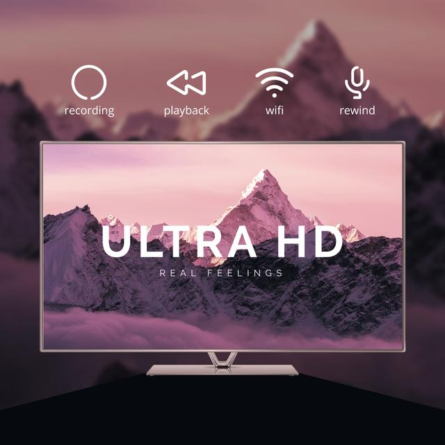 HD TV Ad with Mountains on Screen in Purple Animated Post Modelo de Design