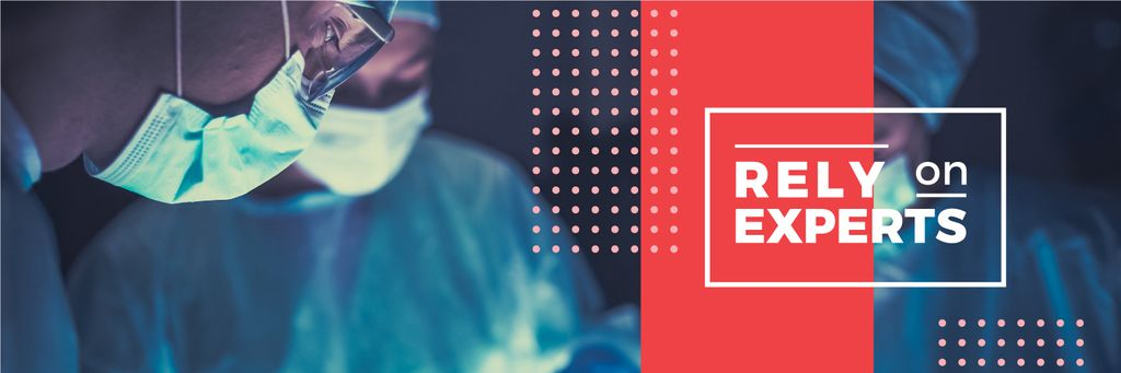 Plantilla de diseño de rely on experts poster with surgeons Twitter