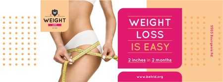 Plantilla de diseño de Weight Loss Program Ad with Slim Female Body Facebook cover