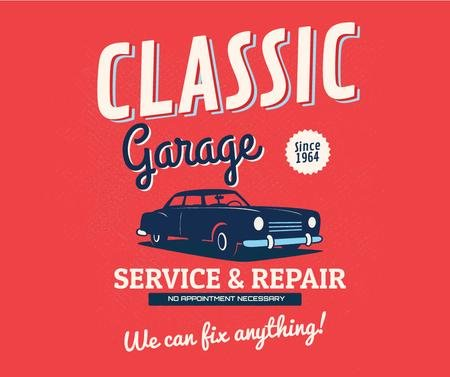 Garage Services Ad Vintage Car in Red Facebook Modelo de Design