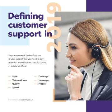 Customers Support Smiling Assistant in Headset | Instagram Post Template