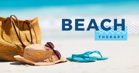 Ontwerpsjabloon van Facebook AD van Beach therapy with accessories