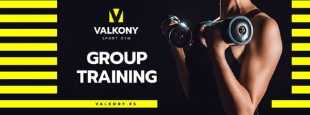 Modèle de visuel Gym Ad with Woman Training with Dumbbells - Facebook cover