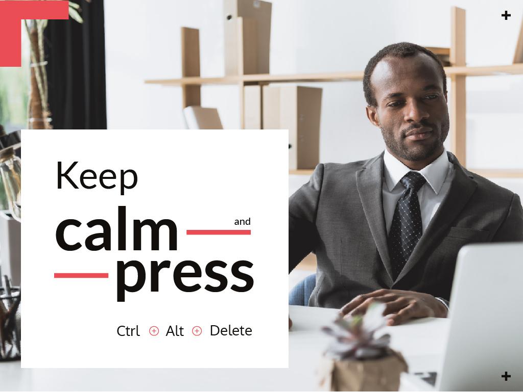 Confident businessman working on laptop — Создать дизайн