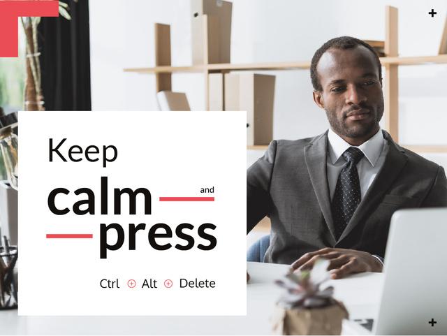Confident businessman working on laptop Presentation – шаблон для дизайна