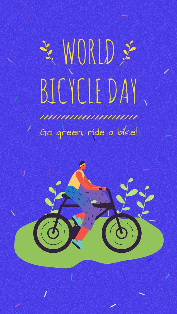 Bike to Work Day Cyclist Riding on Field | Vertical Video Template — Maak een ontwerp