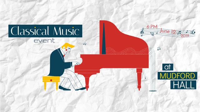 Concert Invitation Musician Playing Piano Full HD video Modelo de Design