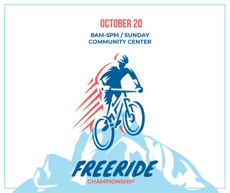 Freeride Championship Announcement Cyclist in Mountains Facebookデザインテンプレート