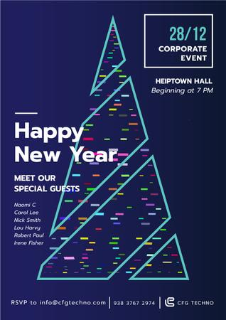 New Year Invitation with Stylized Christmas tree Poster – шаблон для дизайну