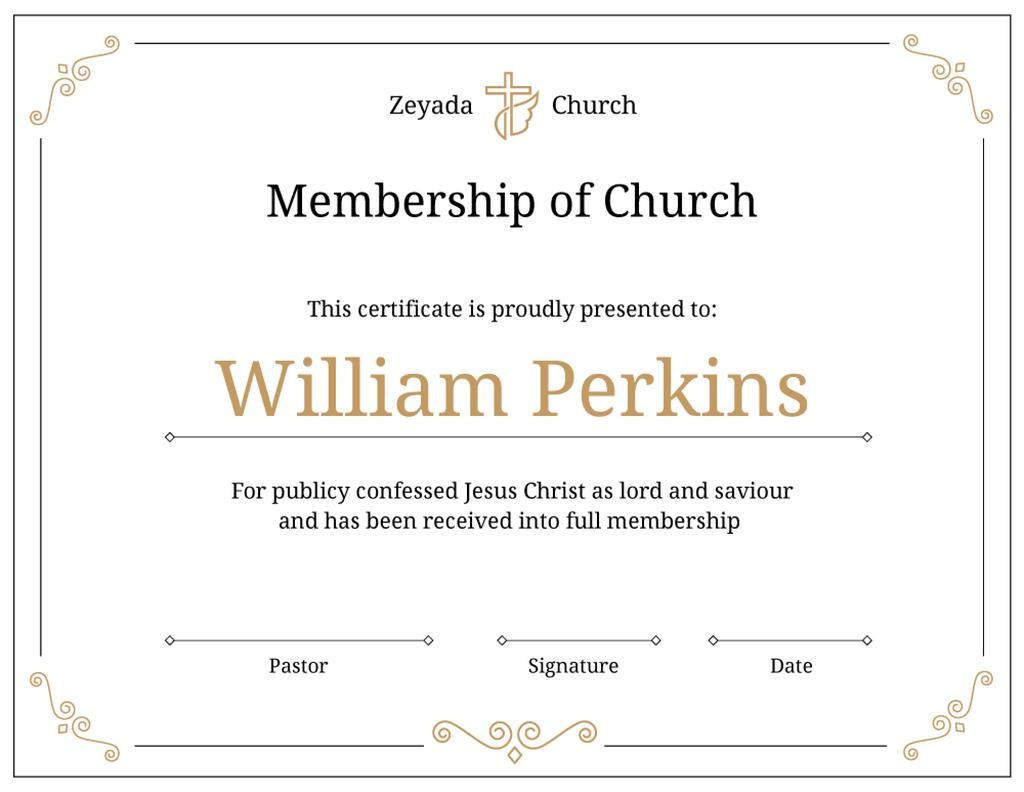 Church Membership confirmation in golden — Створити дизайн