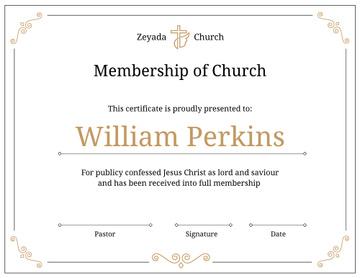 Church Membership confirmation in golden