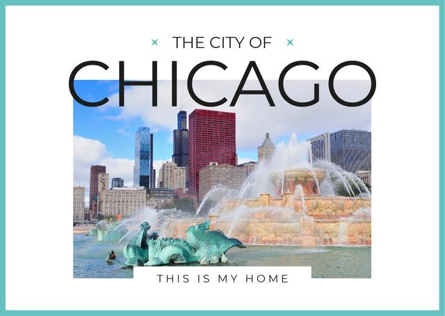 Designvorlage Chicago city view für Postcard
