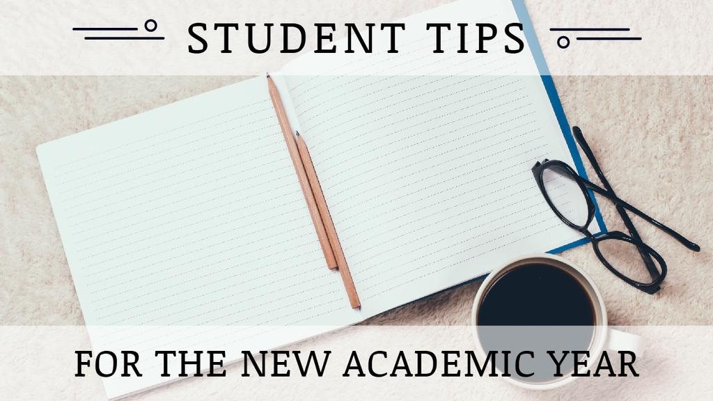 Student Tips Open Notebook and Coffee — Create a Design