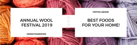 Knitting Festival Invitation with Yarn Skeins Email headerデザインテンプレート