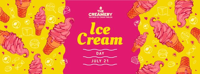Ice Cream Day Ad on Pink and Yellow Facebook cover Tasarım Şablonu