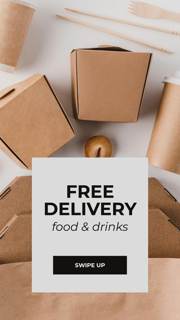 Delivery Services offer with Noodles in box — Crear un diseño