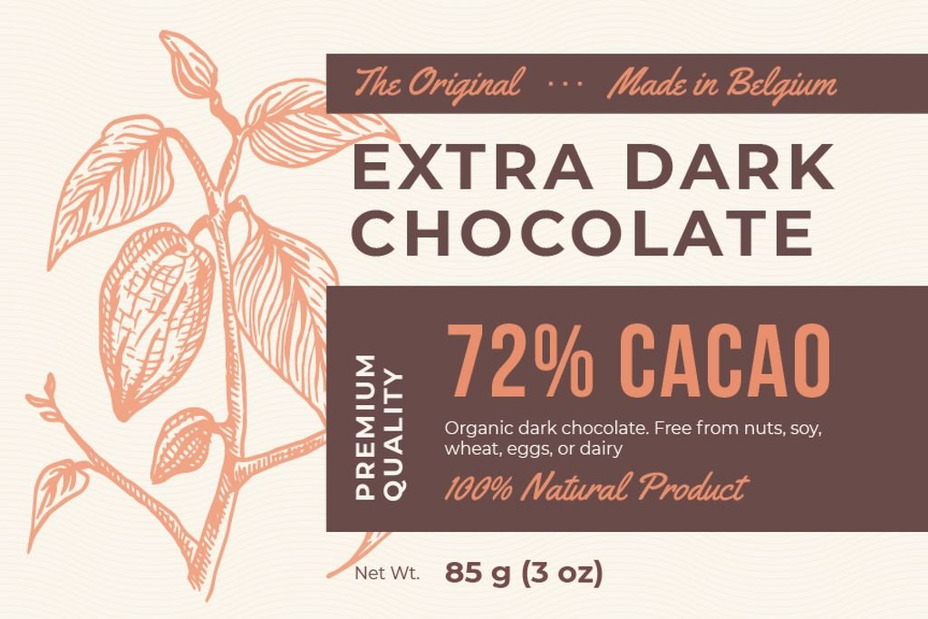 Dark Chocolate packaging with Cocoa beans — Modelo de projeto