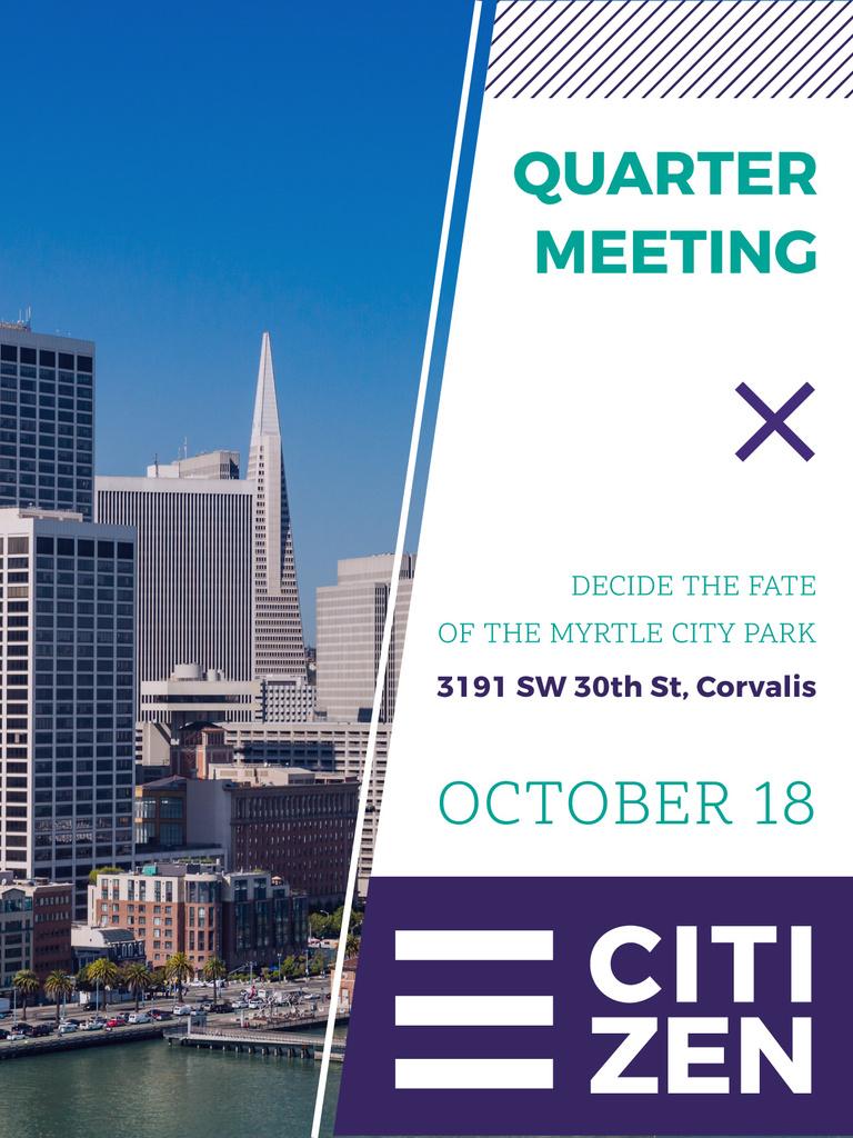Quarter Meeting Announcement City View — Crear un diseño