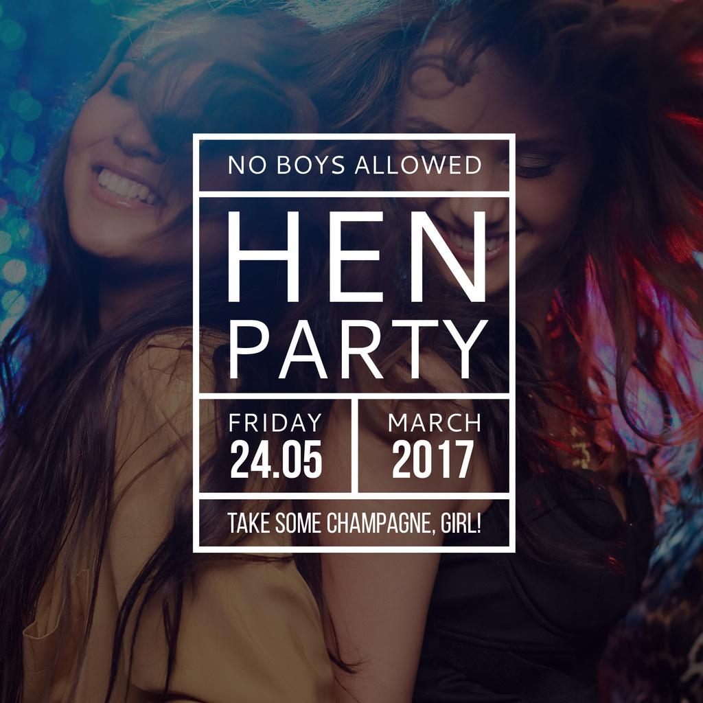 Hen Party invitation with Girls Dancing — Modelo de projeto