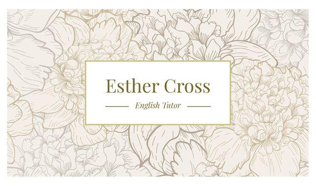 Plantilla de diseño de Tutor Lessons with Flowers Illustration in Contour Business card