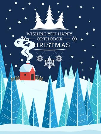 Christmas Greeting with Snowy Landscape Poster US Modelo de Design