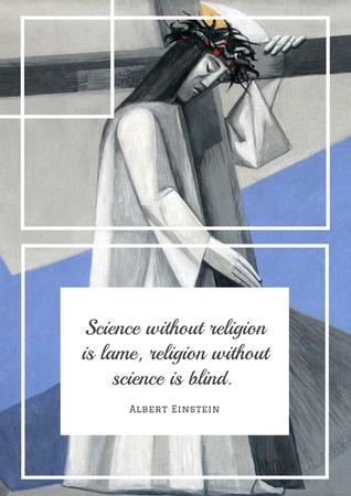 Citation about science and religion Poster Modelo de Design
