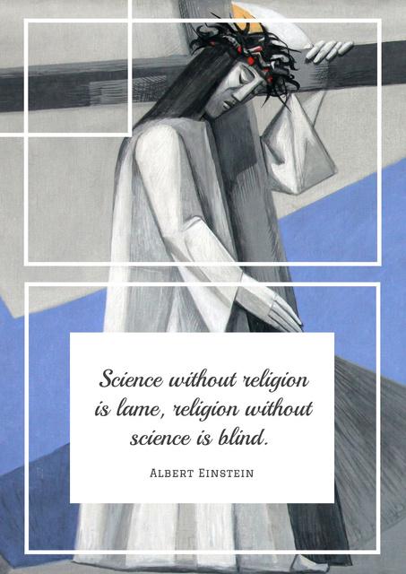 Citation about science and religion Poster Modelo de Design