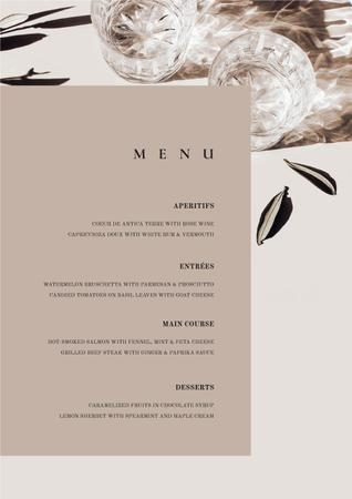 Ontwerpsjabloon van Menu van Card with meal courses