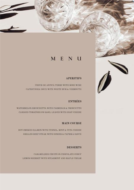Card with meal courses Menu Design Template