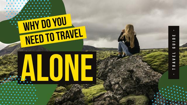 Szablon projektu Outdoor Trip Inspiration Woman Sitting on Rock Youtube Thumbnail