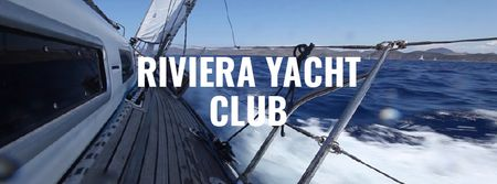 Yacht sailing fast on blue sea Facebook Video cover Modelo de Design