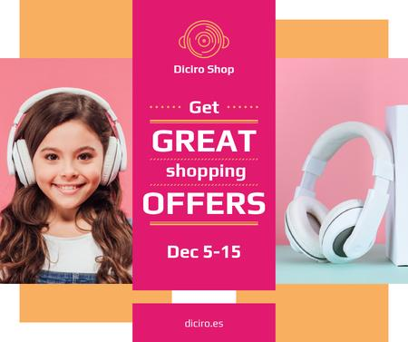 Plantilla de diseño de Gadgets Sale Girl in Headphones in Pink Facebook
