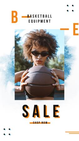 Woman holding basketball ball Instagram Story Design Template