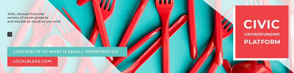 Crowdfunding Platform with Red Plastic Tableware - Bir Tasarım Oluşturun