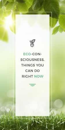 Eco Quote Light Bulb with Leaves Graphic Tasarım Şablonu
