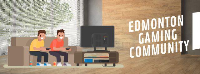 Friends playing video game Facebook Video cover Tasarım Şablonu