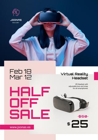 Gadgets Sale with Woman Using VR Glasses Posterデザインテンプレート