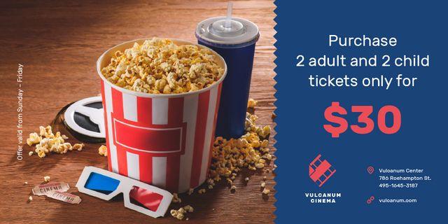 Designvorlage Cinema Offer with Popcorn and 3D Glasses für Twitter