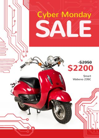 Cyber Monday Sale Scooter in Red Flayerデザインテンプレート