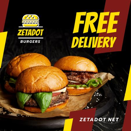Ontwerpsjabloon van Instagram van Fast Food Offer Tasty Burgers