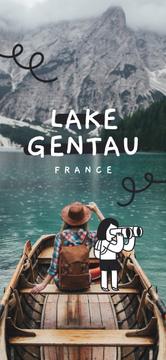 Traveler in a Boat on Lake in France