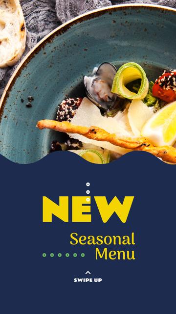 Plantilla de diseño de Seasonal Menu dish with Seafood Instagram Story